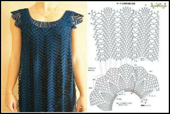 vestido-crochê-azul-com-grafico