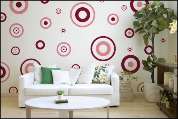 adesivo parede decoracao sala bolas bolhas - COMO DECORAR GASTANDO POUCO COM ADESIVOS