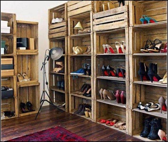 armario de sapatos de caixotes economize.catracalivre.com .br .br7  - COMO DECORAR SUA CASA GASTANDO POUCO COM PALLETS E CAIXOTES