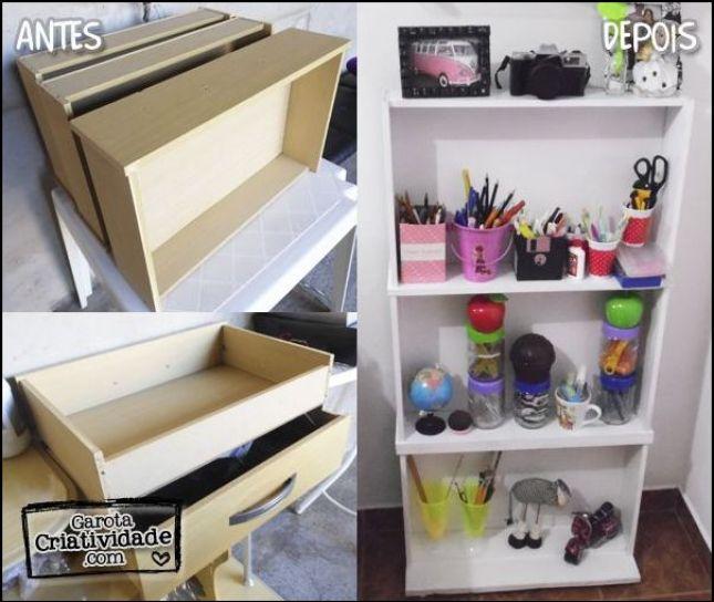 gavetas recicladas - IDEIAS PARA DECORAR SUA CASA UTILIZANDO GAVETAS VELHAS