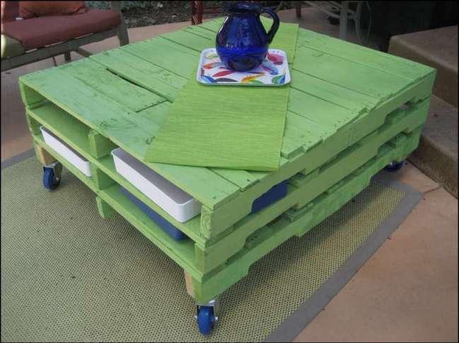 mesa de centro de pallets arquiteta isabella estrela - COMO DECORAR SUA CASA GASTANDO POUCO COM PALLETS E CAIXOTES