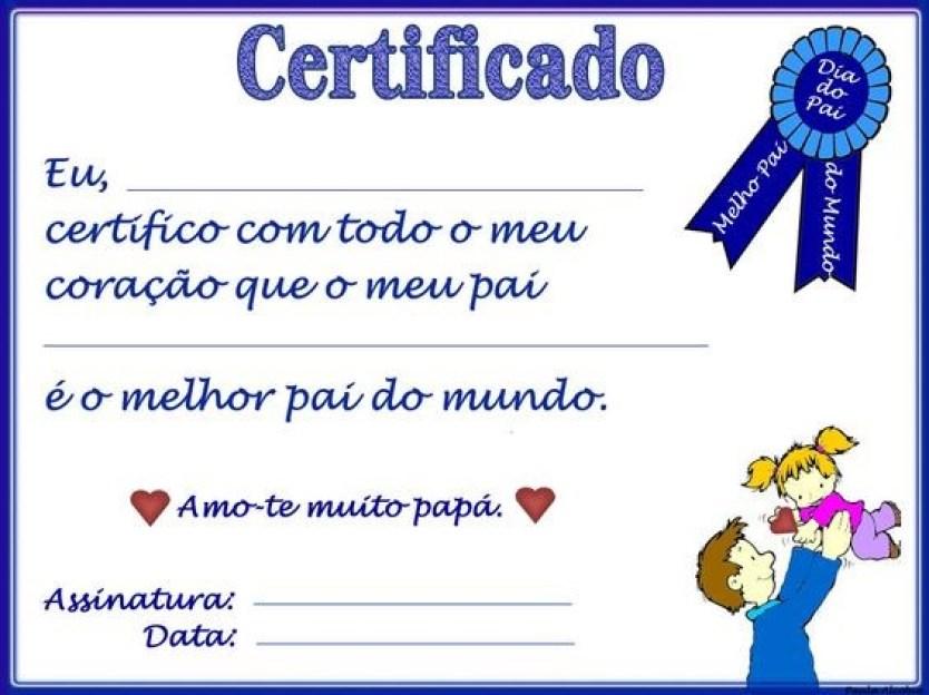certificado dia dos pais2 - CARTÕES E MENSAGENS PARA O DIA DOS PAIS PARA IMPRIMIR
