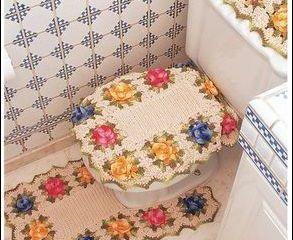 Conjunto banheiro com flores - JOGOS DE BANHEIRO DE CROCHÊ COM GRÁFICO E RECEITA