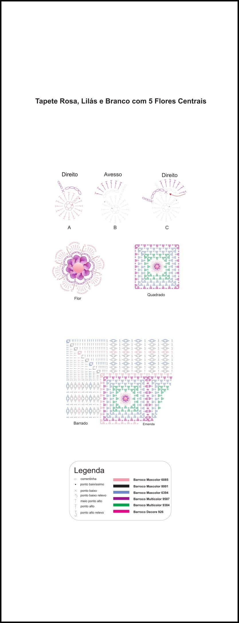 tapete lilas com rosa grafico - TAPETES DE CROCHÊ COM GRÁFICOS E RECEITAS MODELOS 2017