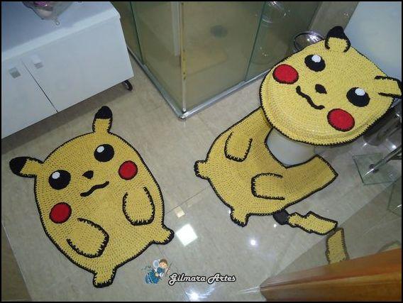 tapete pikachu - MODELOS VARIADOS DE TAPETES COLORIDOS DE CROCHÊ