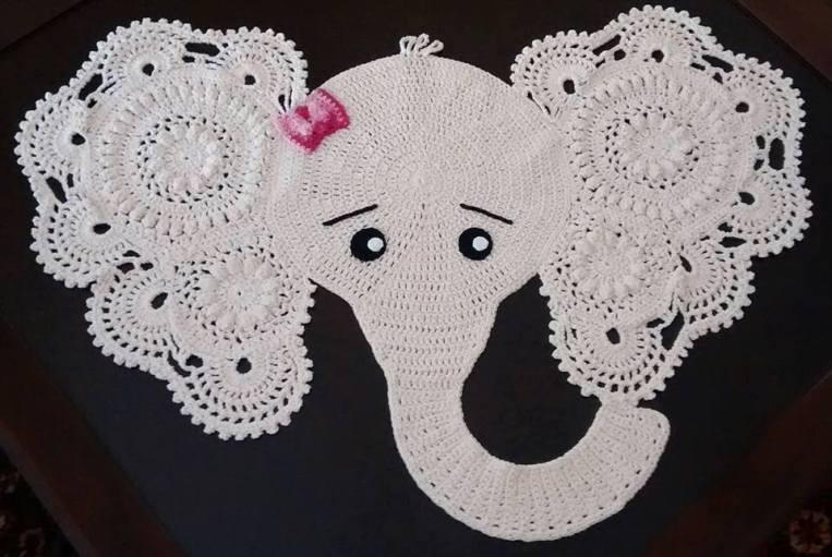 tapete elefantinha decoracao croche - TAPETE DE CROCHÊ DE ELEFANTE COM GRÁFICO E RECEITA