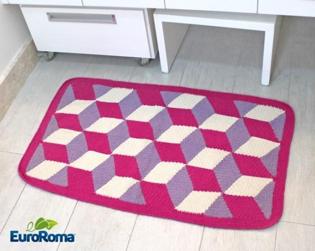 tapete cubo croche euroroma rosa - TAPETE 3D COM GRÁFICO, PASSO A PASSO E VÍDEO AULA