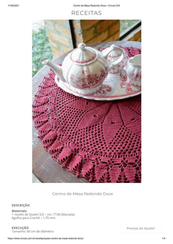 centro de mesa foto 724x1024 - RECEITA E GRÁFICO DE CROCHÊ FÁCIL: CENTRO DE MESA REDONDO