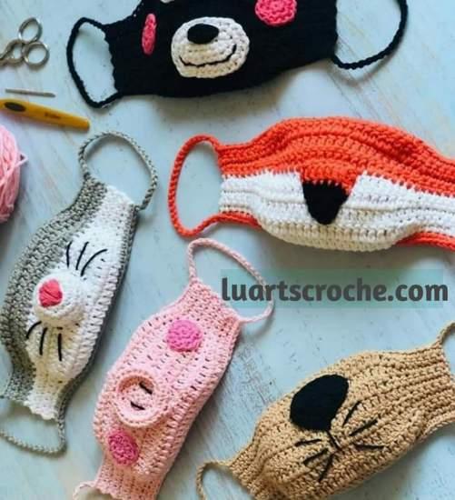 mascara infantil protetora de croche