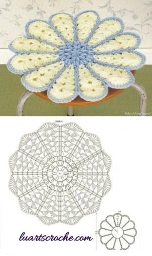 Sousplat floral em relevo de crochê com gráfico para imprimir