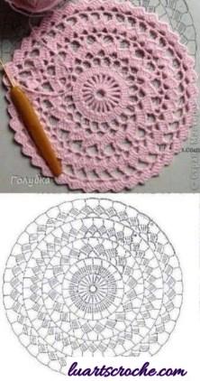 Sousplat rosa de croche gráfico