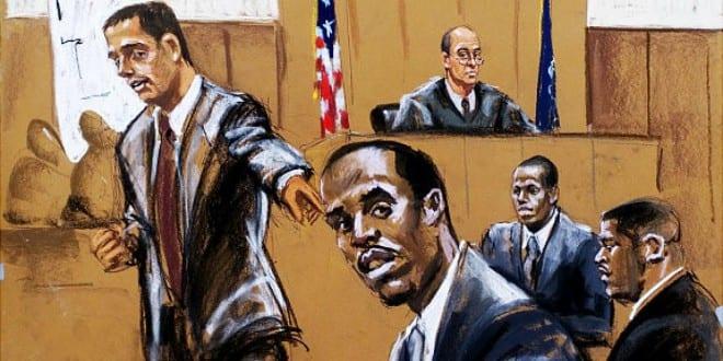 Sinh viên luật ở Anh, Mỹ và Hong Kong có thêm một lý do nữa để đến dự các phiên tòa, là nhiều tòa án không cho phép quay phim, chụp ảnh để tránh gây gián đoạn phiên tòa và để bảo vệ quyền riêng tư của các bên liên quan. Chính vì thế, không thể tiếp cận phiên tòa qua video hay hình ảnh thực, mà phải tới tận nơi hoặc xem qua các tranh minh họa phiên tòa (courtroom sketch). Ảnh trên là tranh minh họa một phiên tòa ở Tòa án Tối cao tiểu bang New York tháng 1.2001 xét xử một vụ xả súng. Ảnh: New York Daily News.