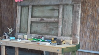 Antique door Upcycled as workbench back
