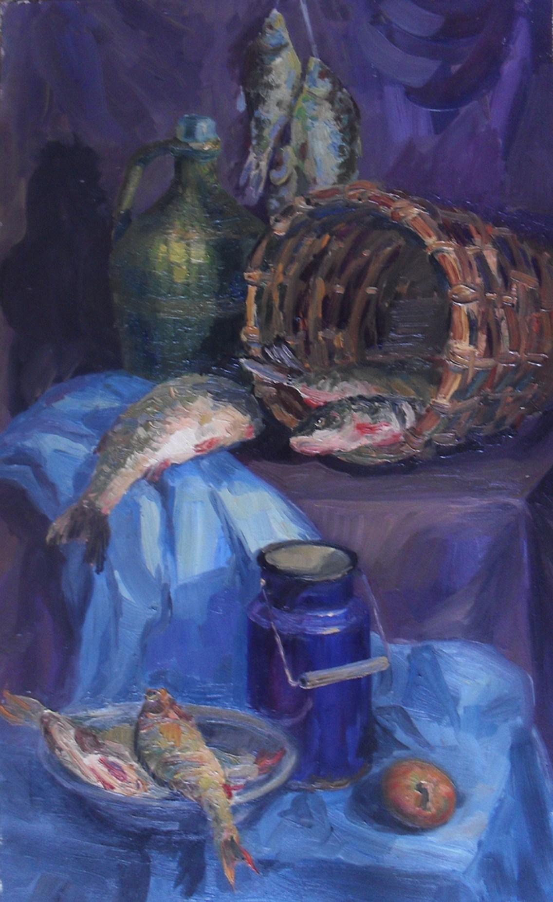 """""""Натюрморт с рыбой"""" холст, масло 50х70"""