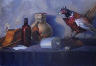 """Натюрморт с птицей"" холст, масло 45х70"