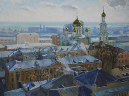 """""""Морозный день"""" холст, масло 60х80 2016г."""