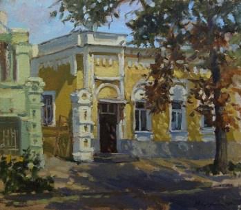 """Желтый дом"" г.Таганрог холст на картоне, масло 35х40см 2015г."