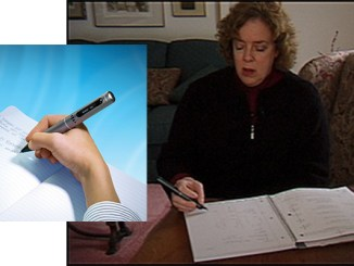 Lori Katz of Cherry Hill, NJ, demonstrates the Pulse Pen, which takes notes while recording audio.