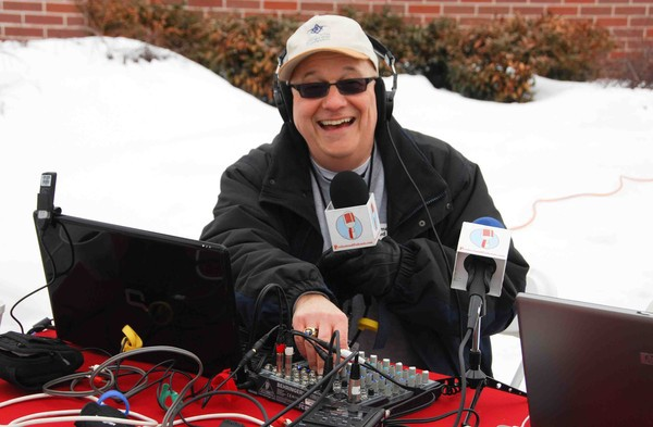 Steve Lubetkin producing a LiveStream video broadcast in February 2010. Kathy Lloyd Boehm, photographer for the Glen Rock Patch website, caught PodcastSteve working the controls.
