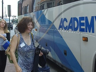 Members board the bus for Burlington County Chamber of Commerce economic development tour
