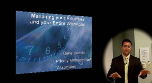 Gene Venuto discusses time management at Burlington Chamber Lunch 'n' Learn