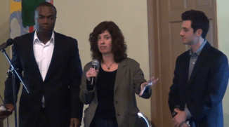Rev. Eric Dobson, Lori Braunstein, and Emilio Panasci wrap up the seminar