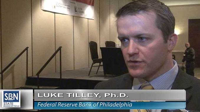 Luke Tilley, economist for the Philadelphia Federal Reserve Bank, speaks with StateBroadcastNews.com, at the Rutgers Quarterly Business Outlook January 30.