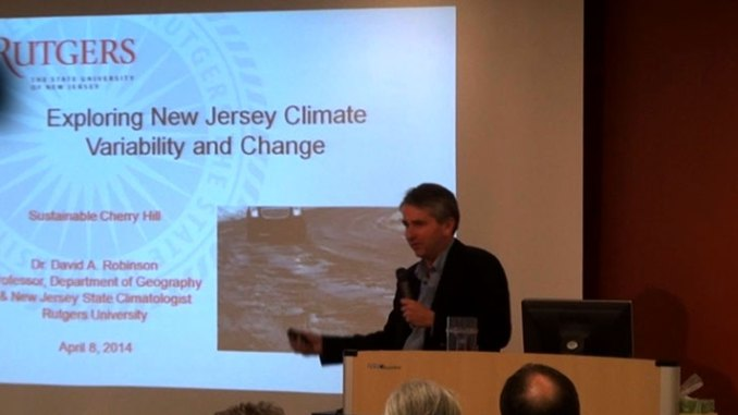 Dr. David Robinson, New Jersey state climatologist, makes a point during his presentation on climate change for Sustainable Cherry Hill April 8. Our State Broadcast News division covered the program.