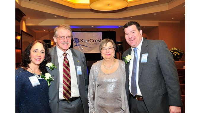Enjoying the festivities and comradery at KenCrest's 110th Anniversary Meet & Greet are...(L-R), President, KenCrest Services Board, Melissa DiSipio, KenCrest Director of Marketing and Development, Mik Gregoire, former President, KenCrest Centers Board, Herta Clements, and 110th Anniversary Steering Committee Chair and Lincoln Financial Group Supercentenarian representative, Scott McCloskey.
