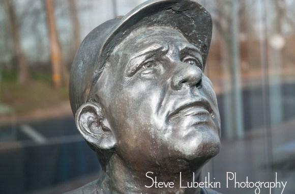 Statue of Yogi Berra greets visitors to museum at Montclair State University campus.