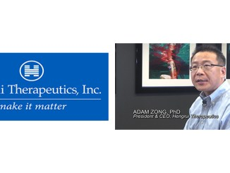 Adam Zong, Ph.D., right, is featured in the new video LMC produced for Hengrui Therapeutics