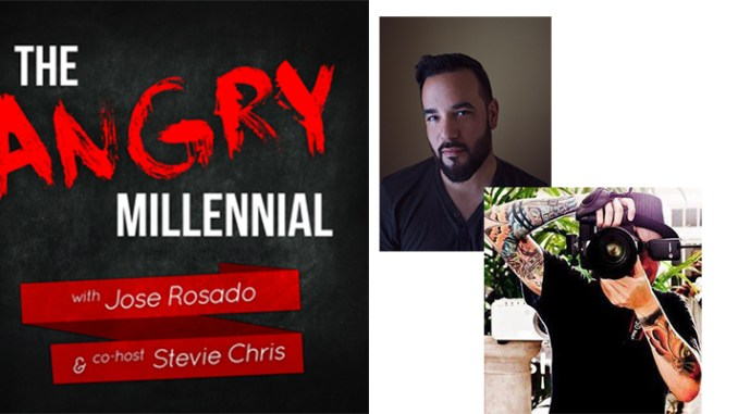 José Rosado, center, and StevieChris, lower right, are the hosts of the Angry Millennial Show