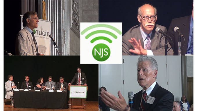 NJSpotlight's July 8 roundtable on the New Jersey Public Pension financial crisis went before the StateBroadcastNews.com cameras. Clockwise from upper left: Keynote speaker William Glasgall of the Volcker Alliance; Dudley Burdge of the Communications Workers of America, former NJ Gov. James J. Florio, and one of the panels during the conference.