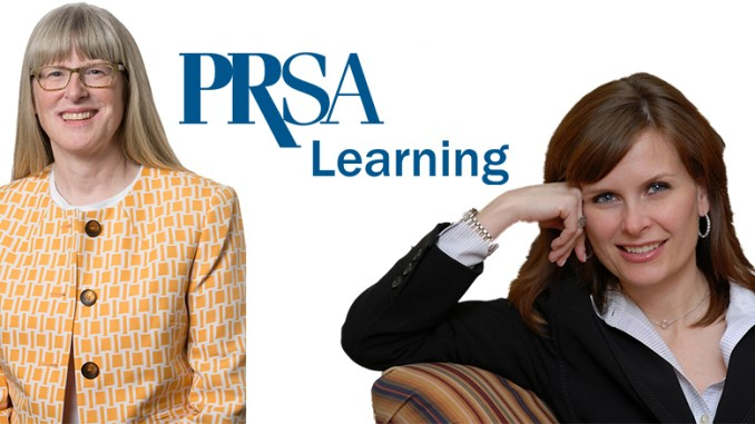 """Blythe Campbell, APR, left, and Gini Dietrich, right, are guests in the first two PRSA """"Perspectives from Communications Leaders"""" Podcasts, produced by The Lubetkin Media Companies"""