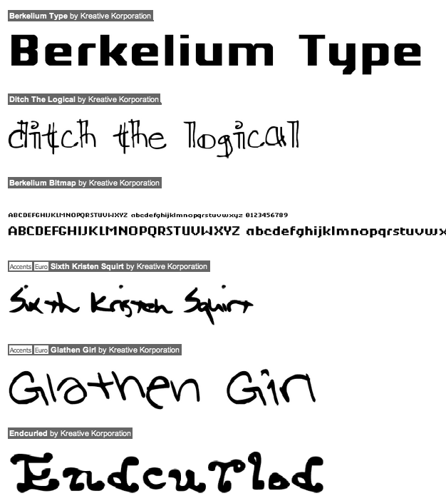 Kreative Korporation (was: Relay Fonts, or: Kreative Software)