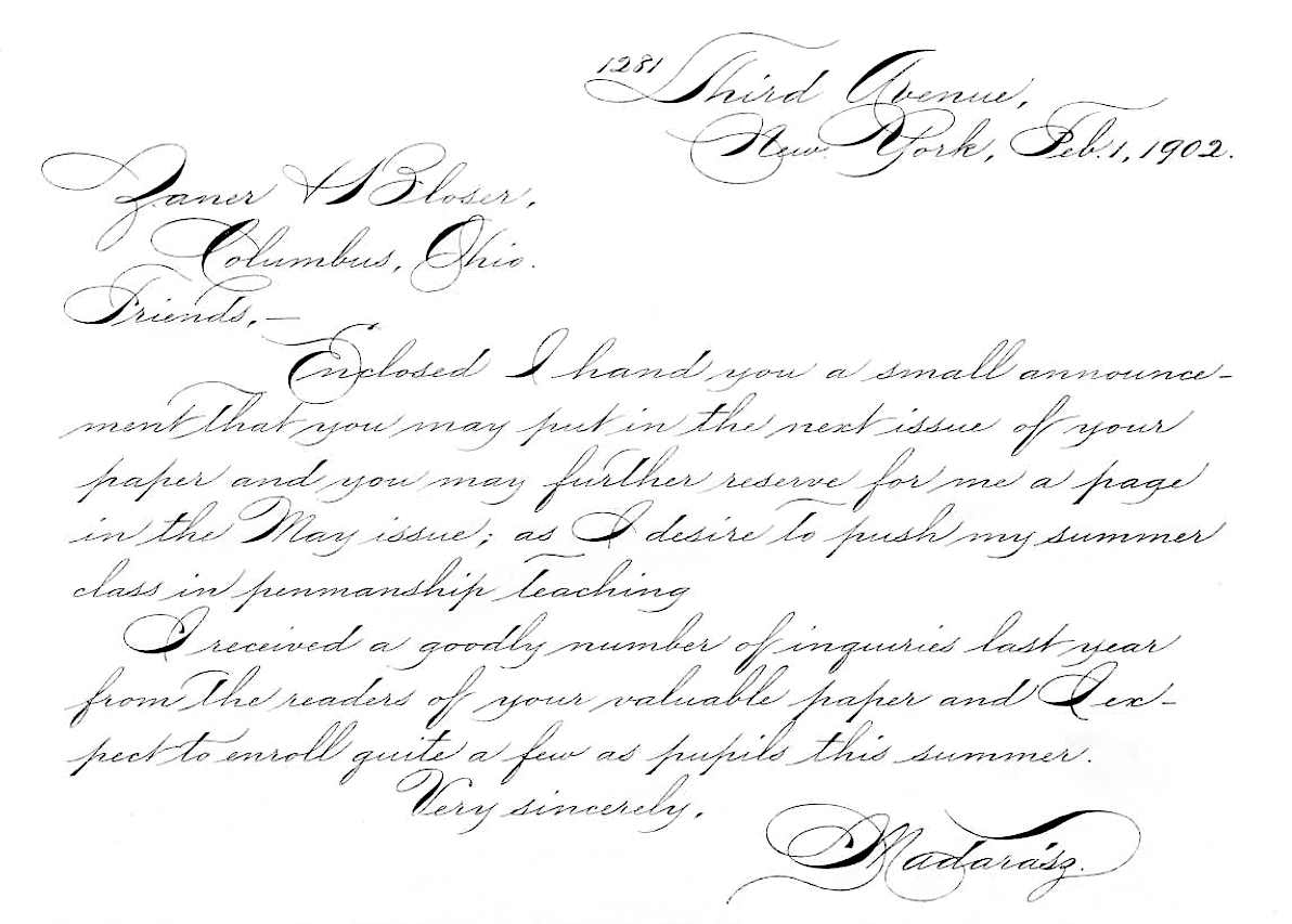 Incredible Letter From Penmanship