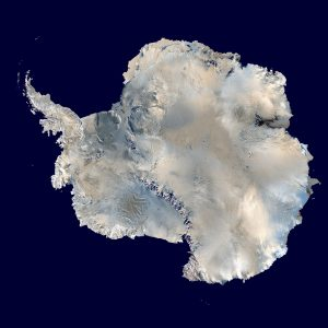 Antarctica. An orthographic projection of NASA's Blue Marble data set.
