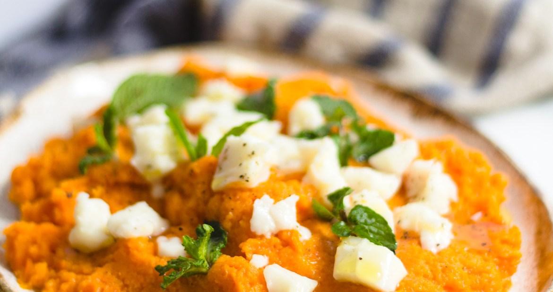 Purê rústico de cenoura com queijo de cabra e hortelã 1