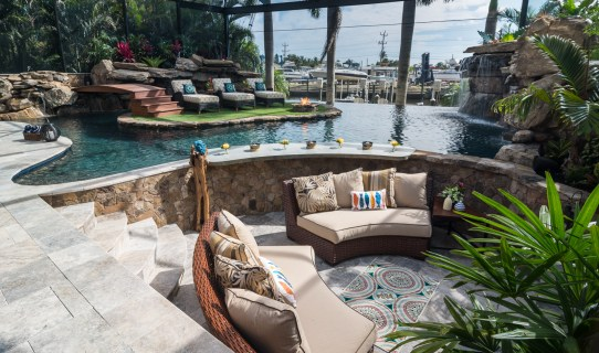 Lucas Lagoons Custom pool outdoor living area