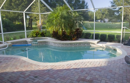 Lagoon Pool Remodel into Tropical Resort with Slide, Grotto and Stream Before