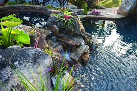 Spa Spillway Stream into pool