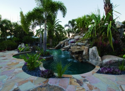 Lagoon Pool with Flagstone Deck, Spa, Grotto, Island Planters