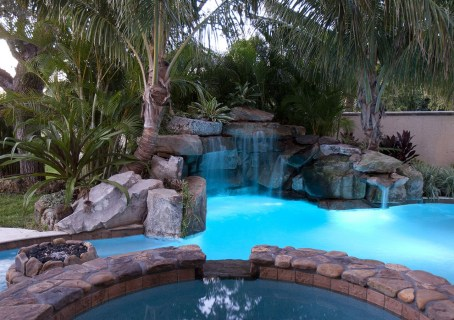 Sitting in the Spa looking at the waterfall grotto and coconut palms
