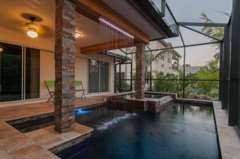 Rain curtain and modern pool