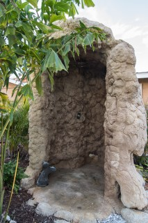 A custom Outdoor Shower to match the Limestone