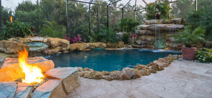 Fire Pit and Both Main Grotto and Second Water Fall