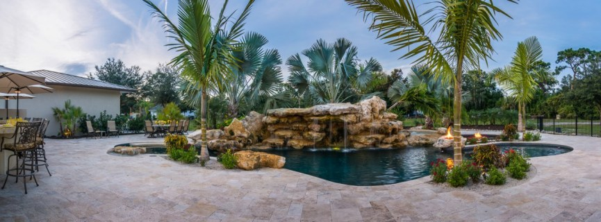Daylight Panorama view Natural Lagoon Pool Outdoor Living Space