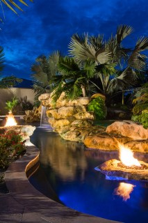 Natural pool Fire Pits Spa and stone waterfalls grotto