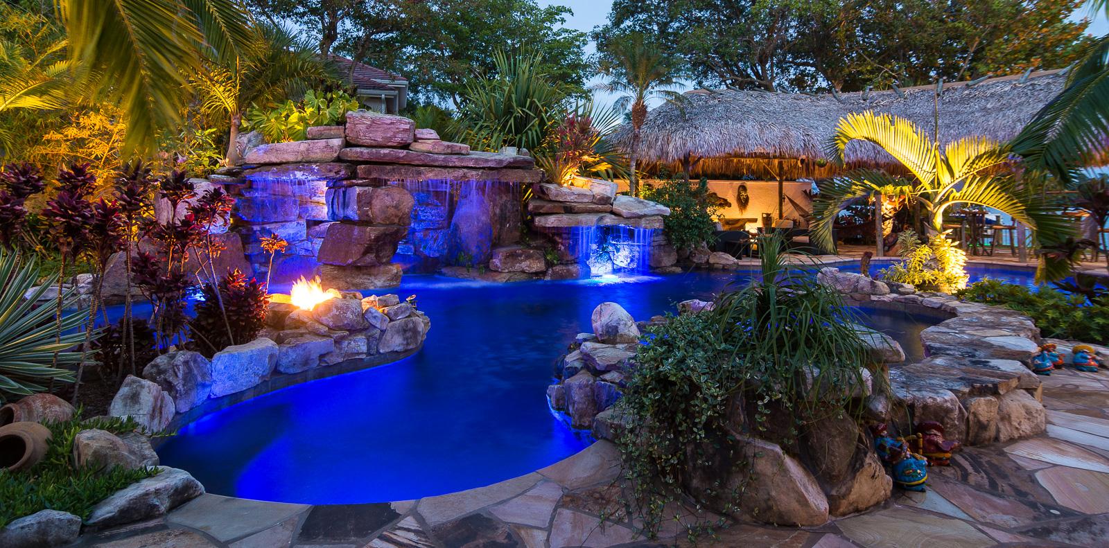 Design Waterfall Pools custom rock waterfall pool grotto spa natural stream tiki hut siesta key pools tiki