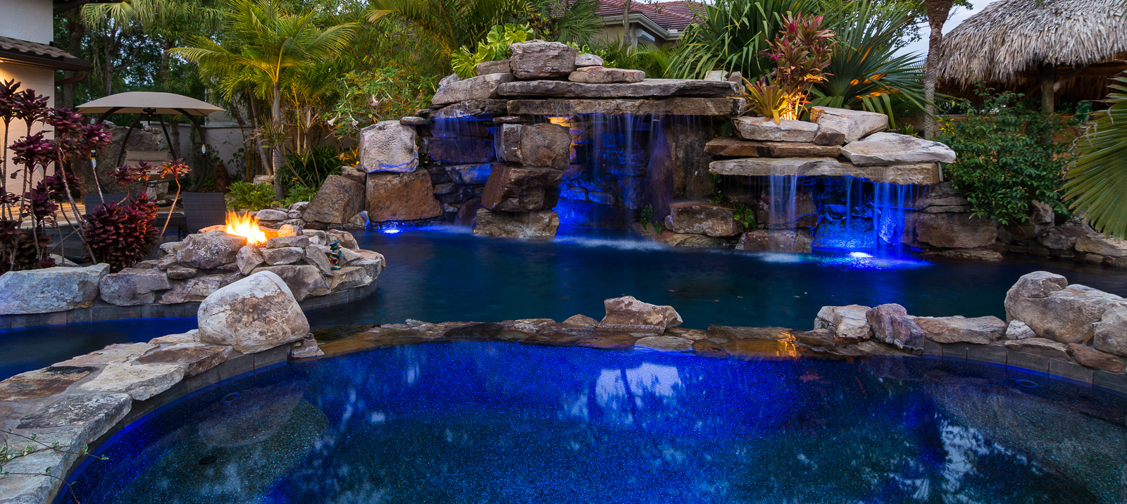 natural rock waterfall pool siesta key spa fire